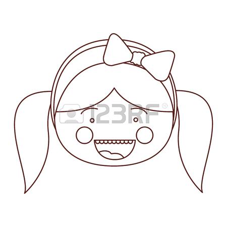 450x450 Sketch Contour Smile Expression Cartoon Front Face Girl