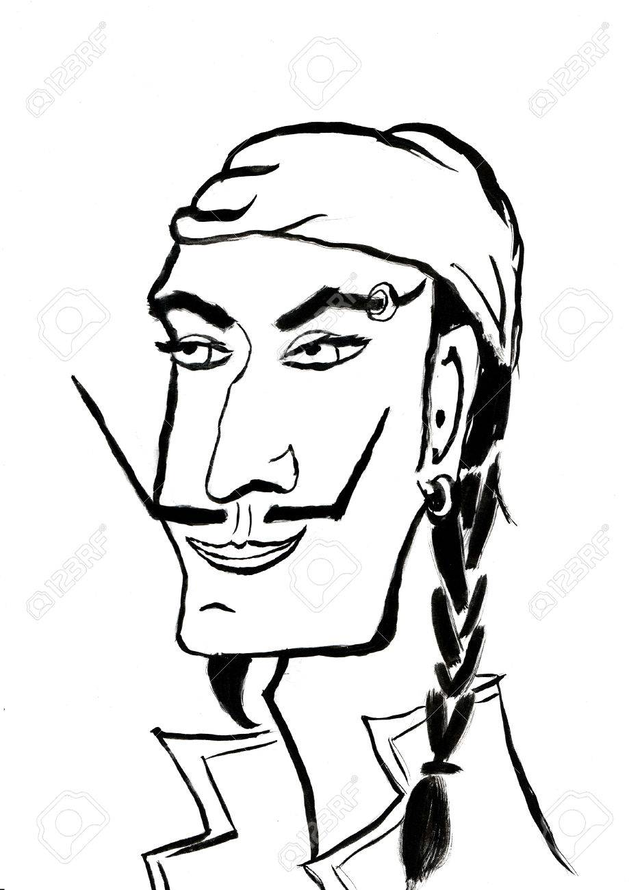 919x1300 Black And White Pirate Head Line Art, Man With Pigtail, Mustache