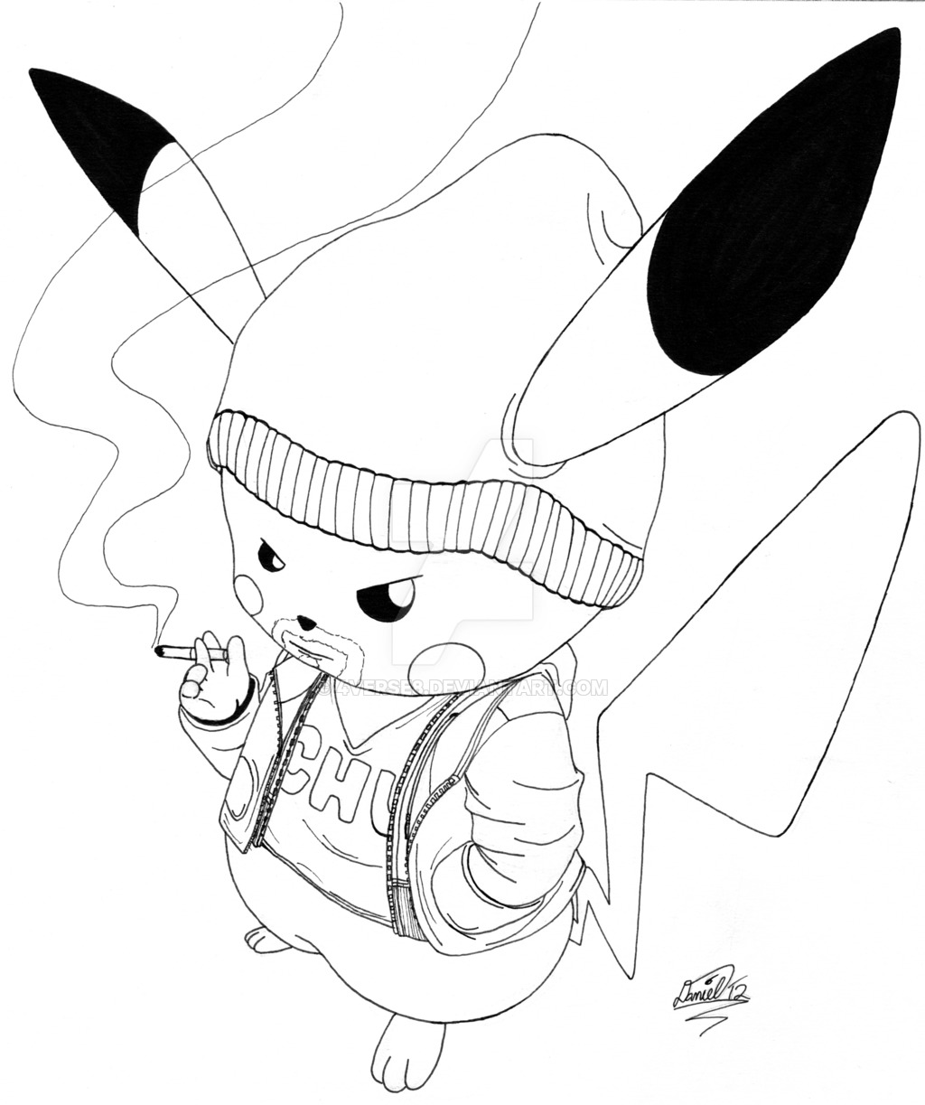 1024x1223 Gangster Pikachu (Ink) By 4verse8