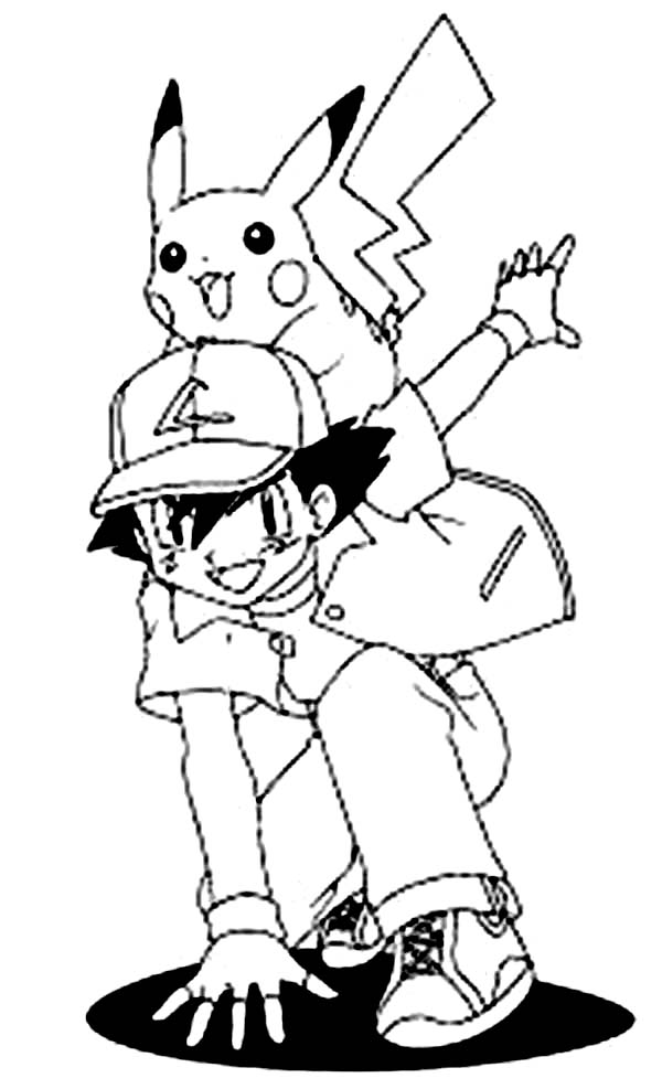 600x987 ash and pikachu pokemon coloring page preschool in pretty draw