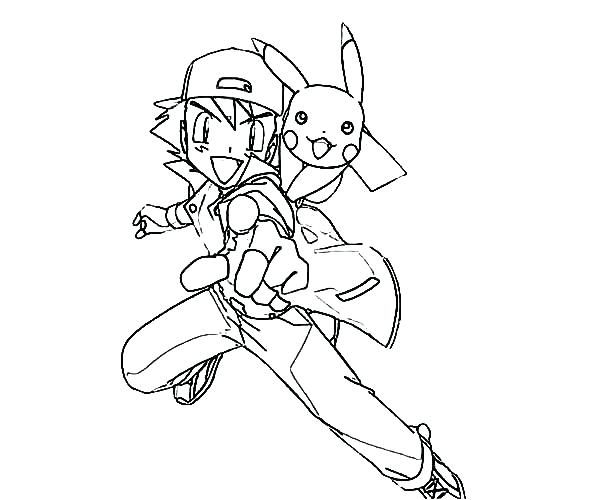 600x500 Astounding Charming Ash And Pikachu Coloring Pages Print Full Size