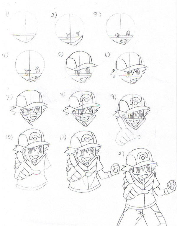 600x766 How To Draw Ash Ketchum Part 1 By Eternash