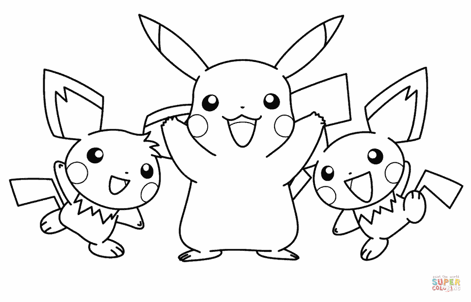 957x614 Pikachu And His Friends Coloring Page Free Printable Coloring Pages