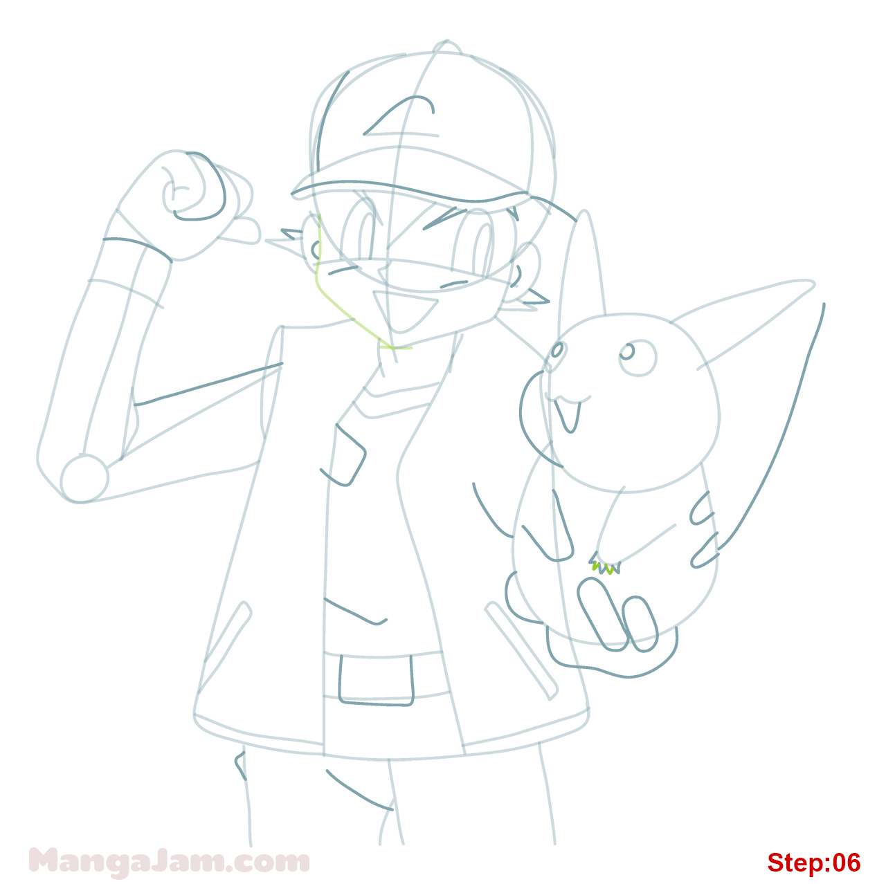 1280x1278 How To Draw Ash Ketchum From Pokemon