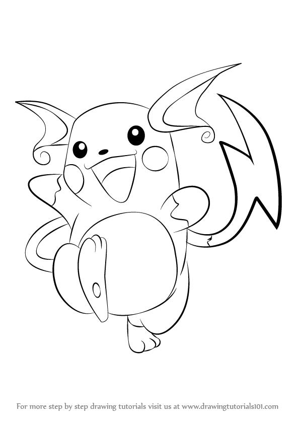 596x842 Learn How To Draw Raichu From Pokemon (Pokemon) Step By Step