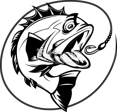 380x363 Cartoon Illustration Of A Bass Chasing A Hook Bass Fishing