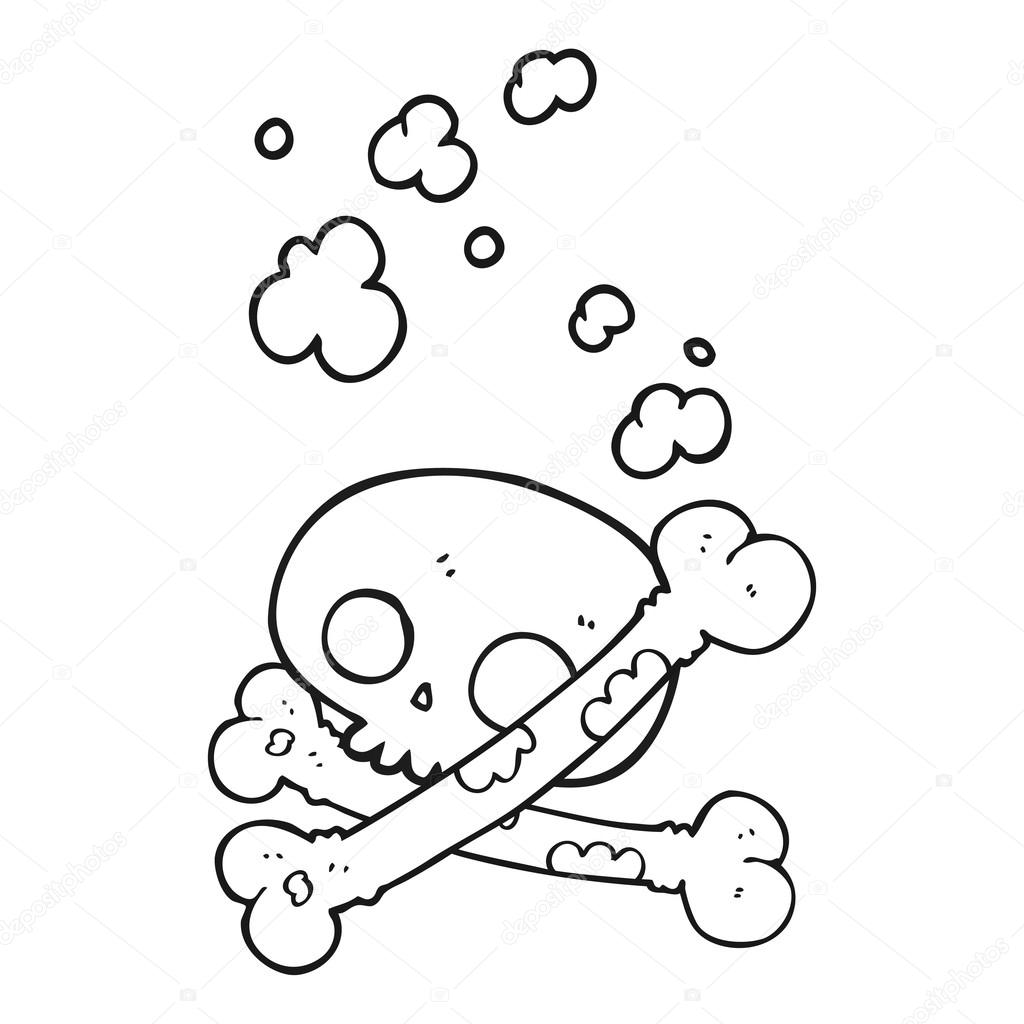 1024x1024 Black And White Cartoon Old Pile Of Bones Stock Vector