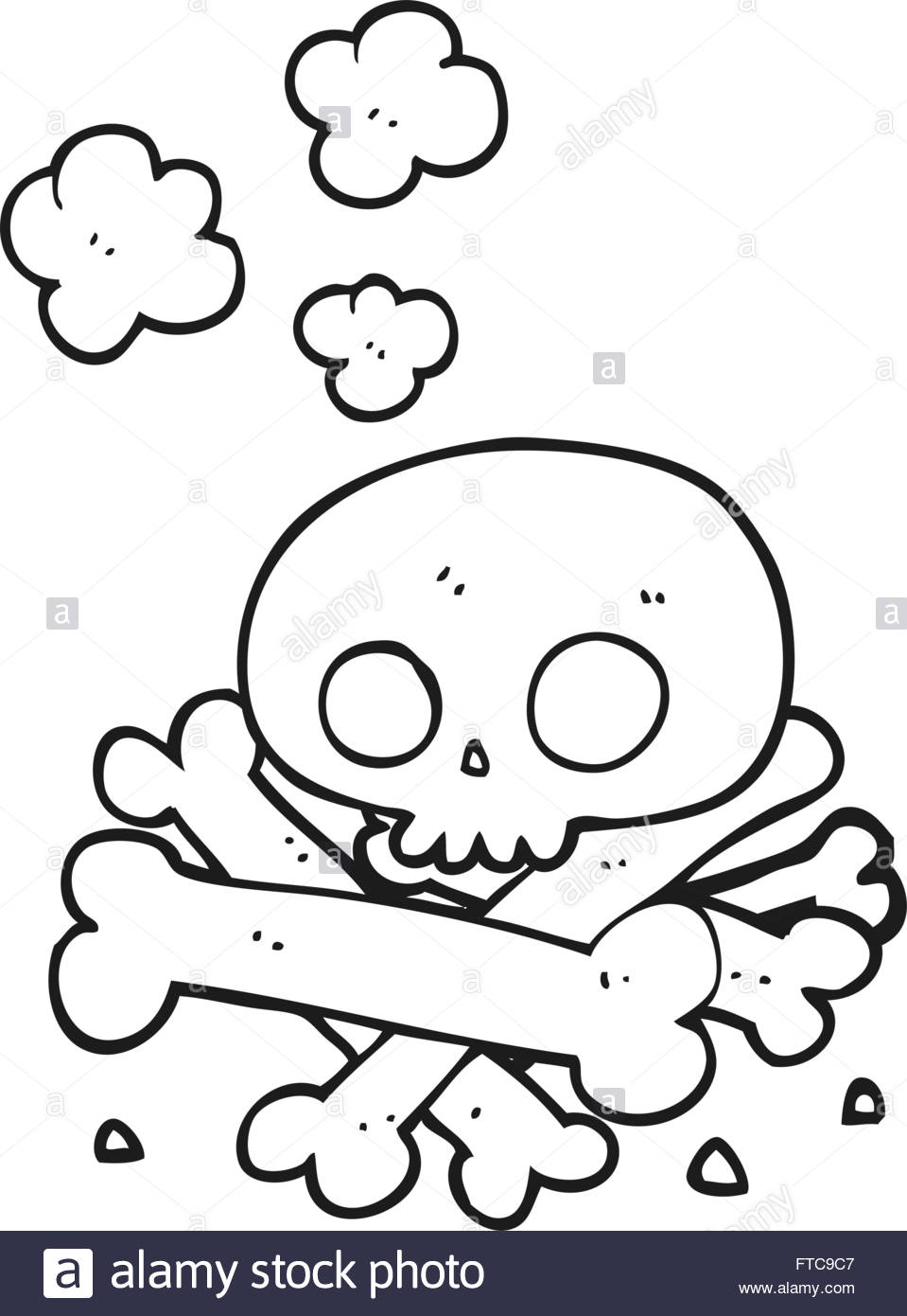 959x1390 Freehand Drawn Black And White Cartoon Pile Of Bones Stock Vector
