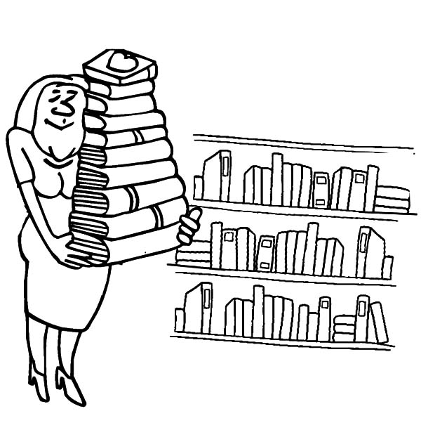 600x622 Librarian Lifting A Pile Of Books In Library Coloring Pages