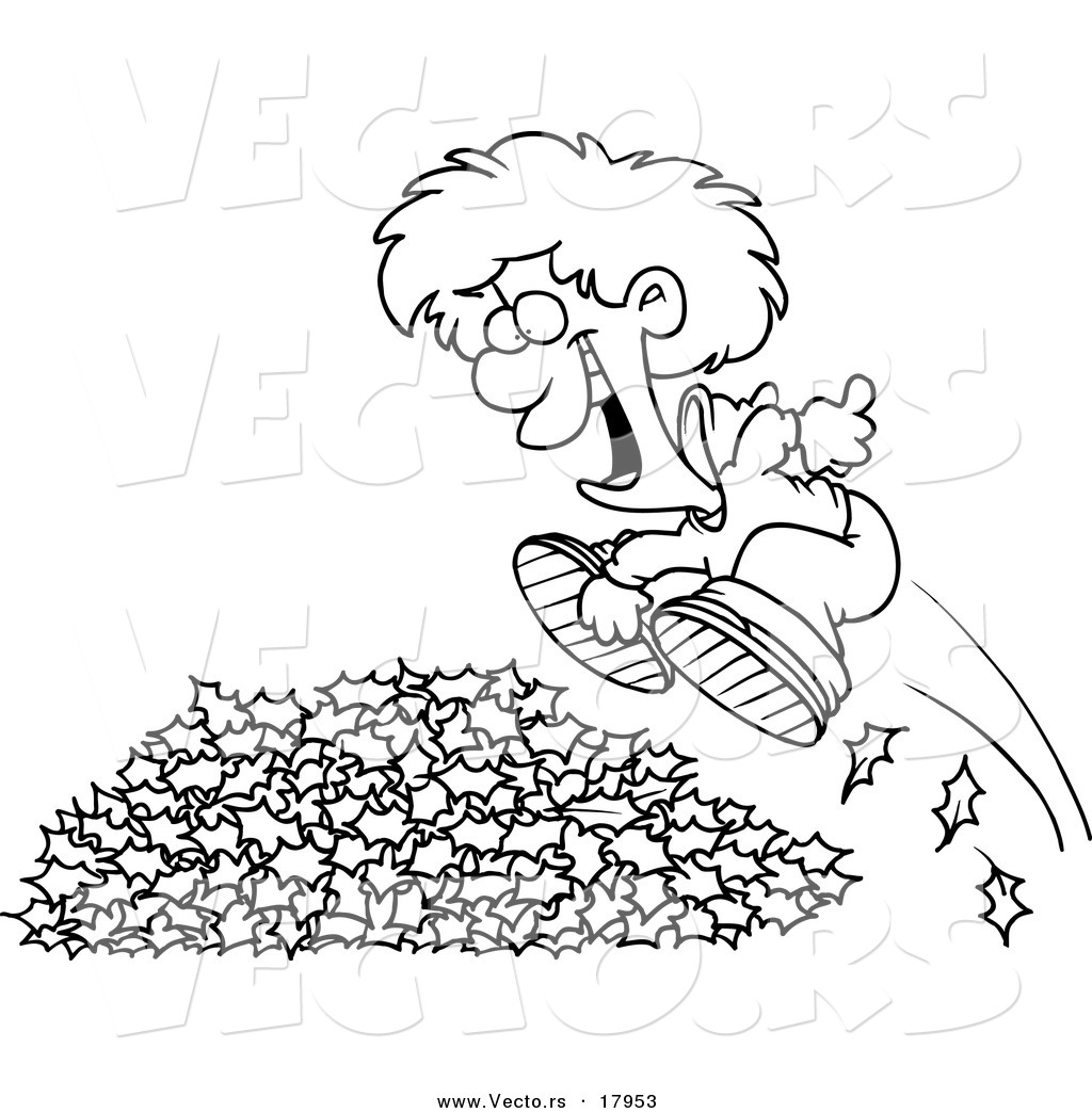 1024x1044 Vector Of A Cartoon Little Boy Jumping In Leaves
