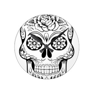324x324 Skull Drawing Wall Clocks Zazzle
