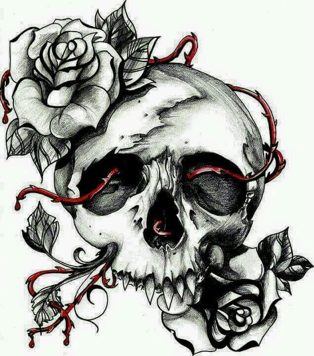 635x720 Skull Roses Skull Y Roses Drawings, Drawing
