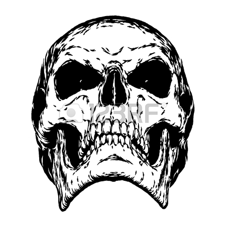 450x450 Black And White Engrave Isolated Evil Skull Face Stock Photo