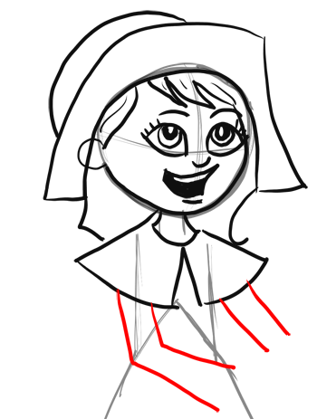 350x463 How To Draw Cartoon Pilgrim Girl For Thanksgiving Step By Step