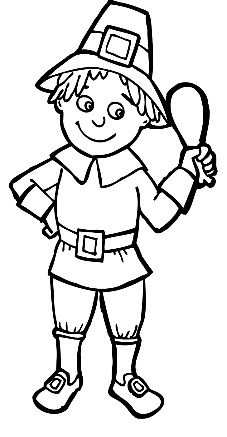 pilgrim boy and girl coloring pages | Pilgrim Drawing at GetDrawings.com | Free for personal use ...