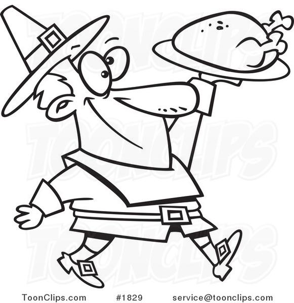 581x600 Cartoon Blacknd White Line Drawing Of Pilgrim Guy Carrying