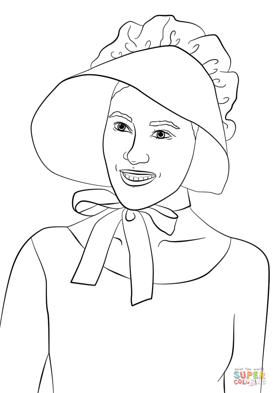 824x1186 Girl Wearing Pilgrim Bonnet Coloring Page Free Printable