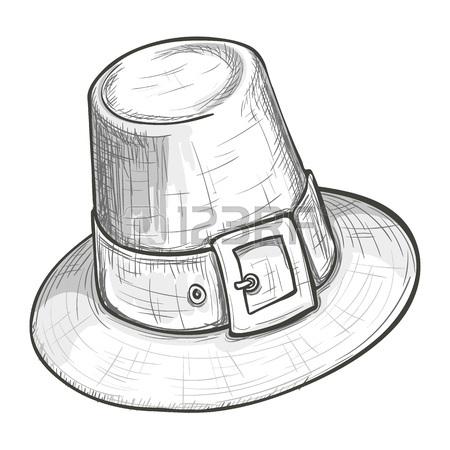 450x450 Cartoon Style Pilgrim Hat Decorated With Yellow Oak Leaf