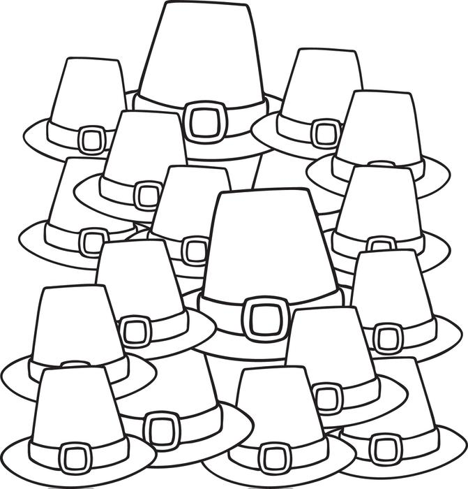 671x700 free printable pilgrim hats coloring page for kids
