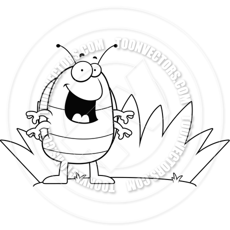 460x460 Cartoon Pill Bug Grass (Black And White Line Art) By Cory Thoman