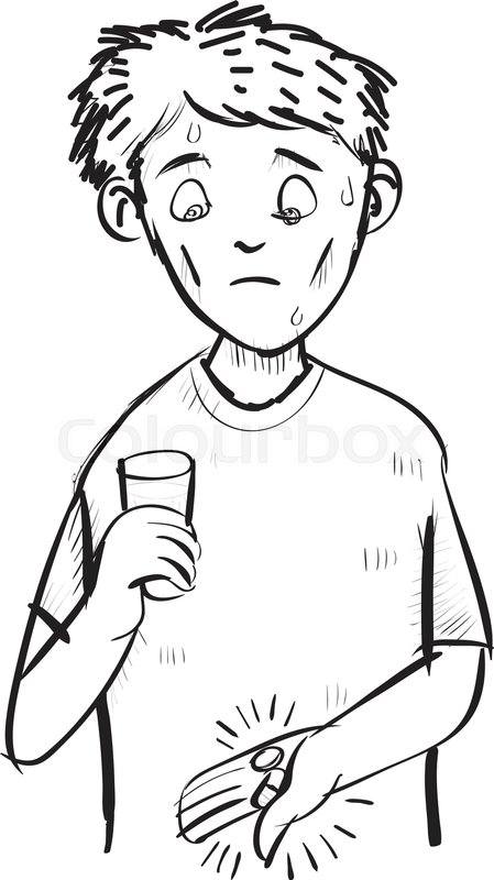 449x800 Cartoon Man Scared A Pill And Capsule, Holding A Glass