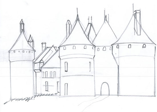 550x392 Draw A Medieval Castle Medieval, Castles And Drawings