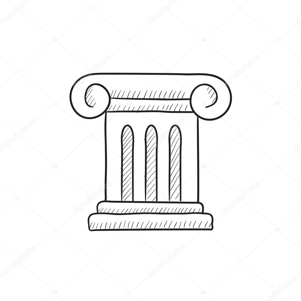 1024x1024 Ancient Column Sketch Icon. Stock Vector Rastudio