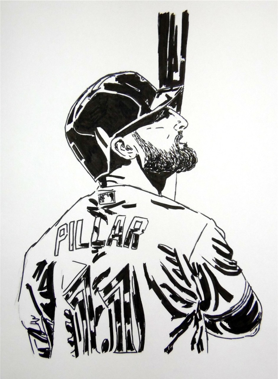 941x1280 Andrew Pen And Ink Sketch Of Kevin Pillar Batting Https