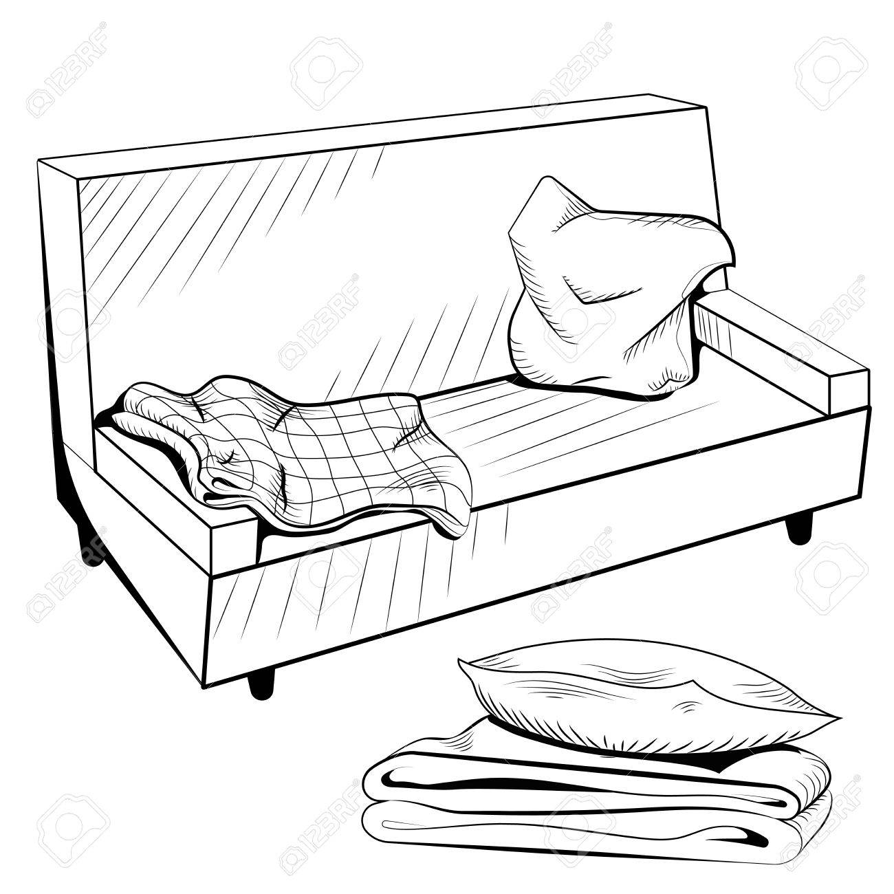 1300x1300 Vector Black And White Sofa With A Warm Blanket And Pillows