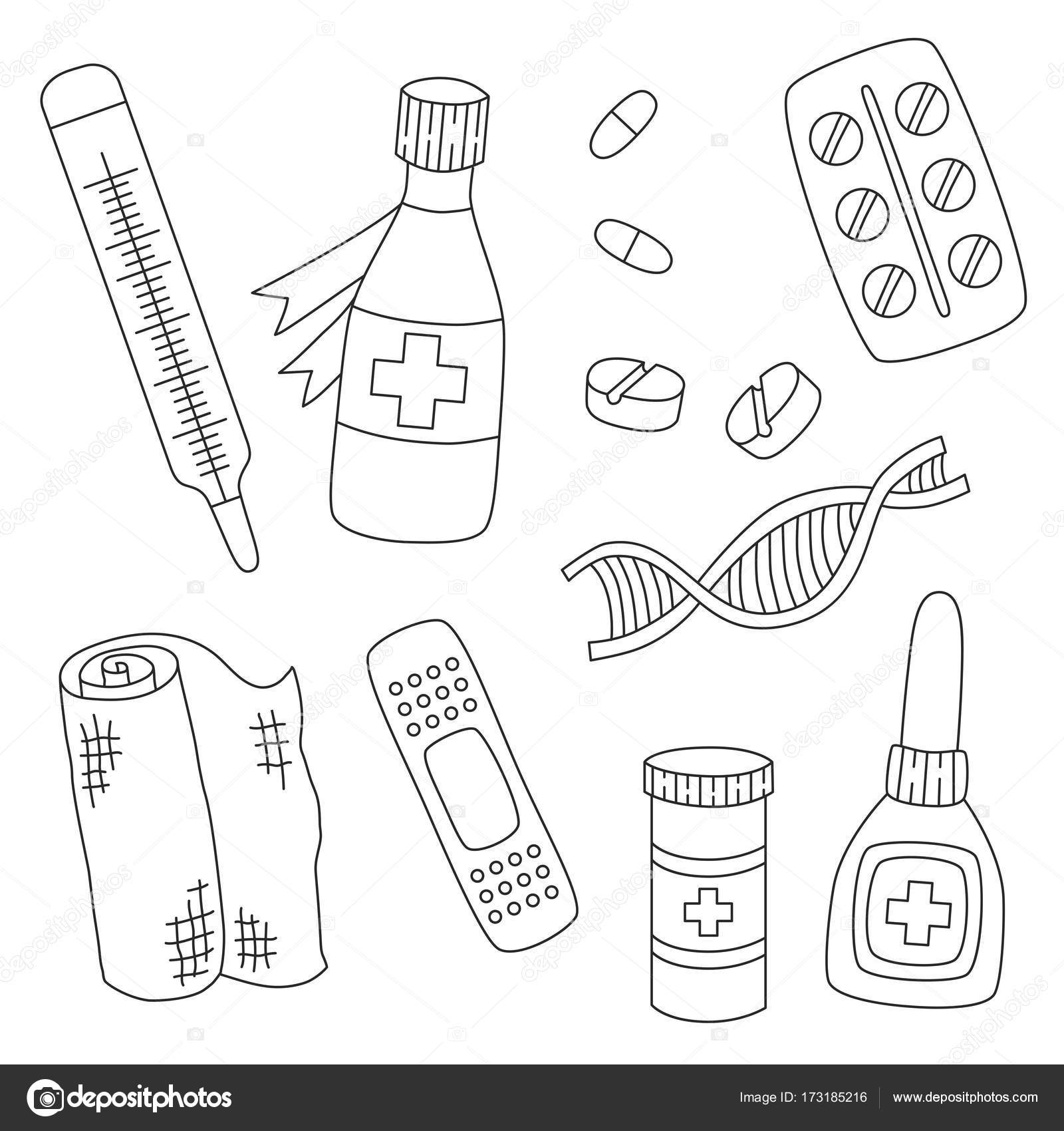 1600x1700 Medicine Drugs Pills Dna Doodle Icons Vector Set Stock Vector