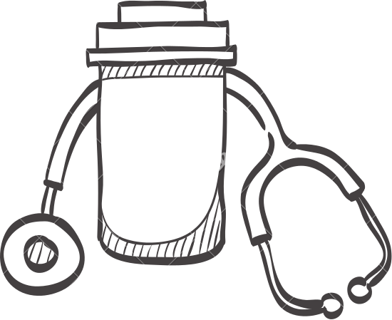 550x449 Sketch Icon Of A Pills Bottle And Stethoscope