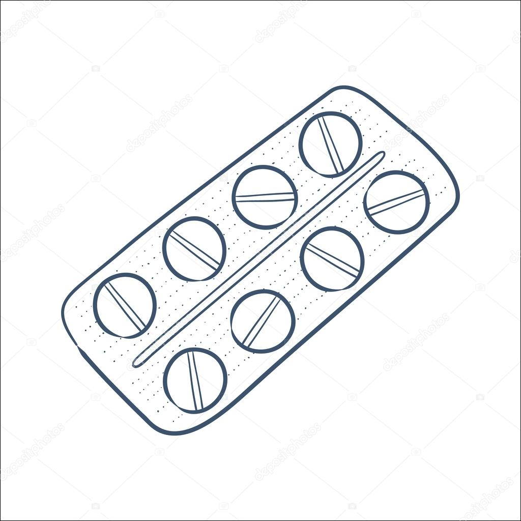 1024x1024 Tablets Pills In A Blister Pack Isolated On White. Stock Vector