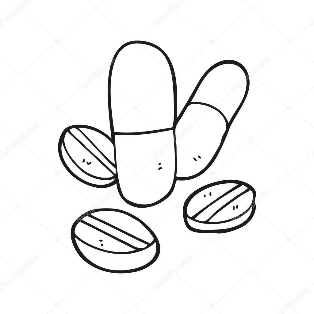 1024x1024 Black And White Cartoon Pills Stock Vector Lineartestpilot