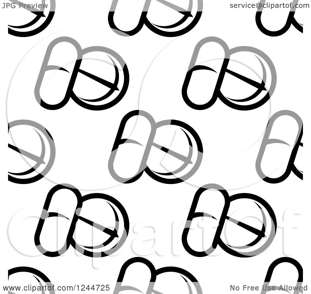 1080x1024 Clipart Of A Seamless Pattern Background Of Black And White Pills