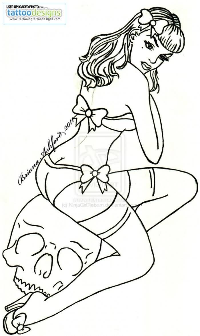 700x1173 Hot Pin Up Girl Sit On White Skull Drawing Tattoo