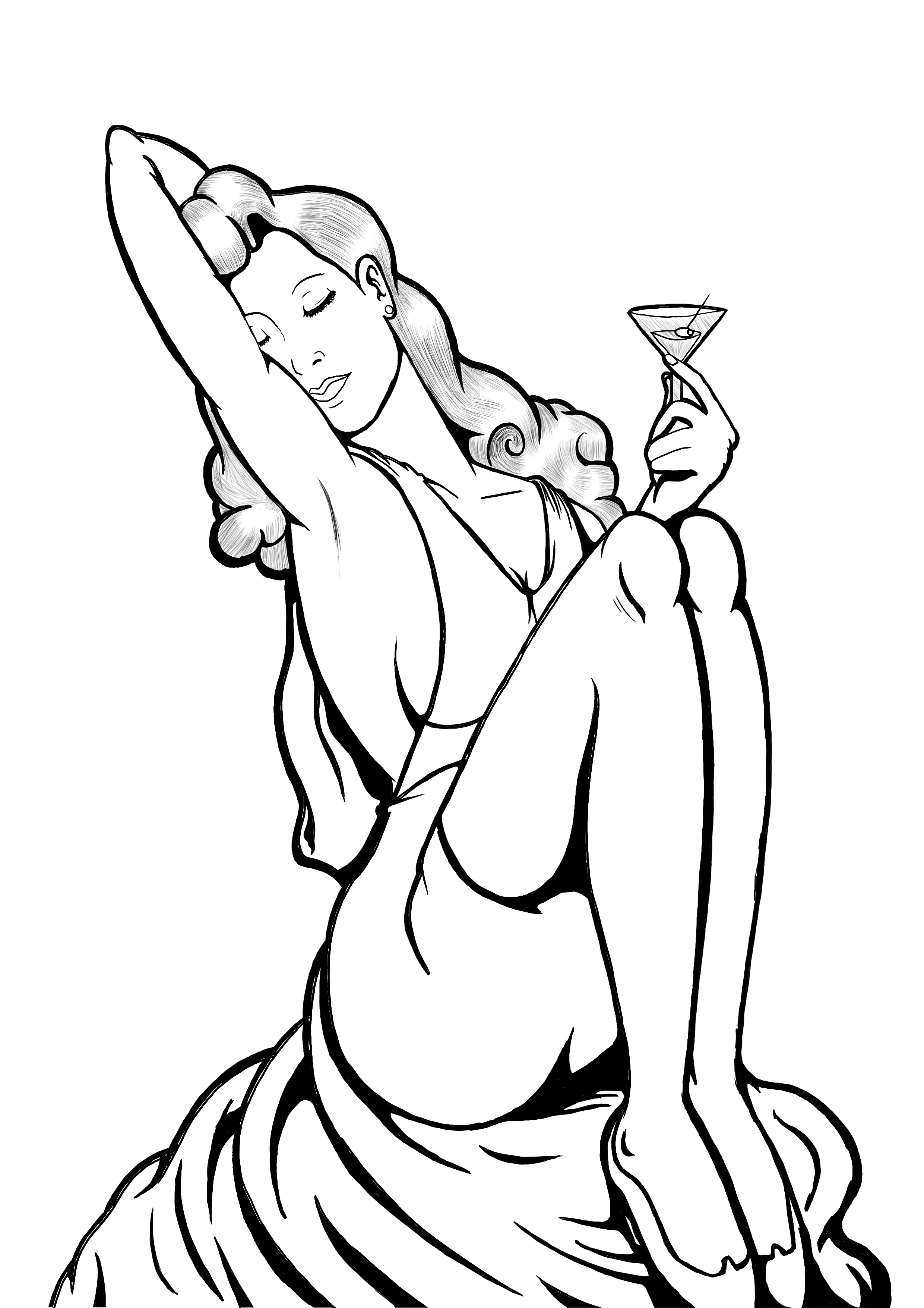 Pin Up Girl Drawing at GetDrawings.com | Free for personal use Pin ...