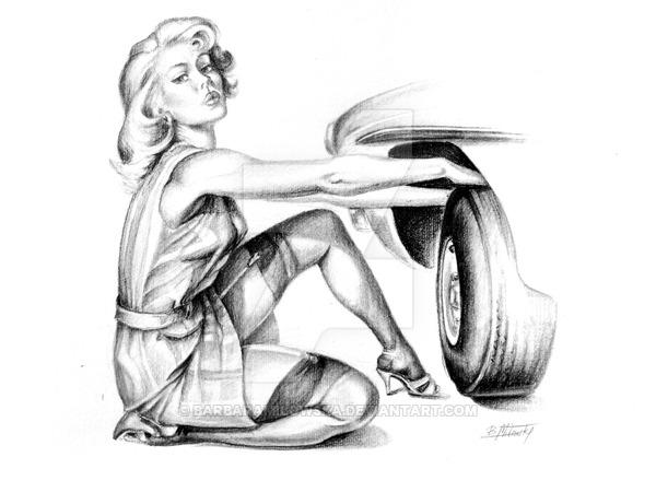 600x450 Pinup Girl Fixing Car By Barbaramilowska
