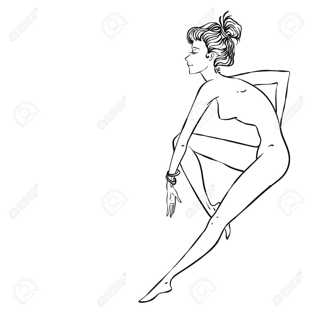 1300x1299 Vector Sexy Beautiful Pin Up Girl Sitting Or Dancing, Suitable