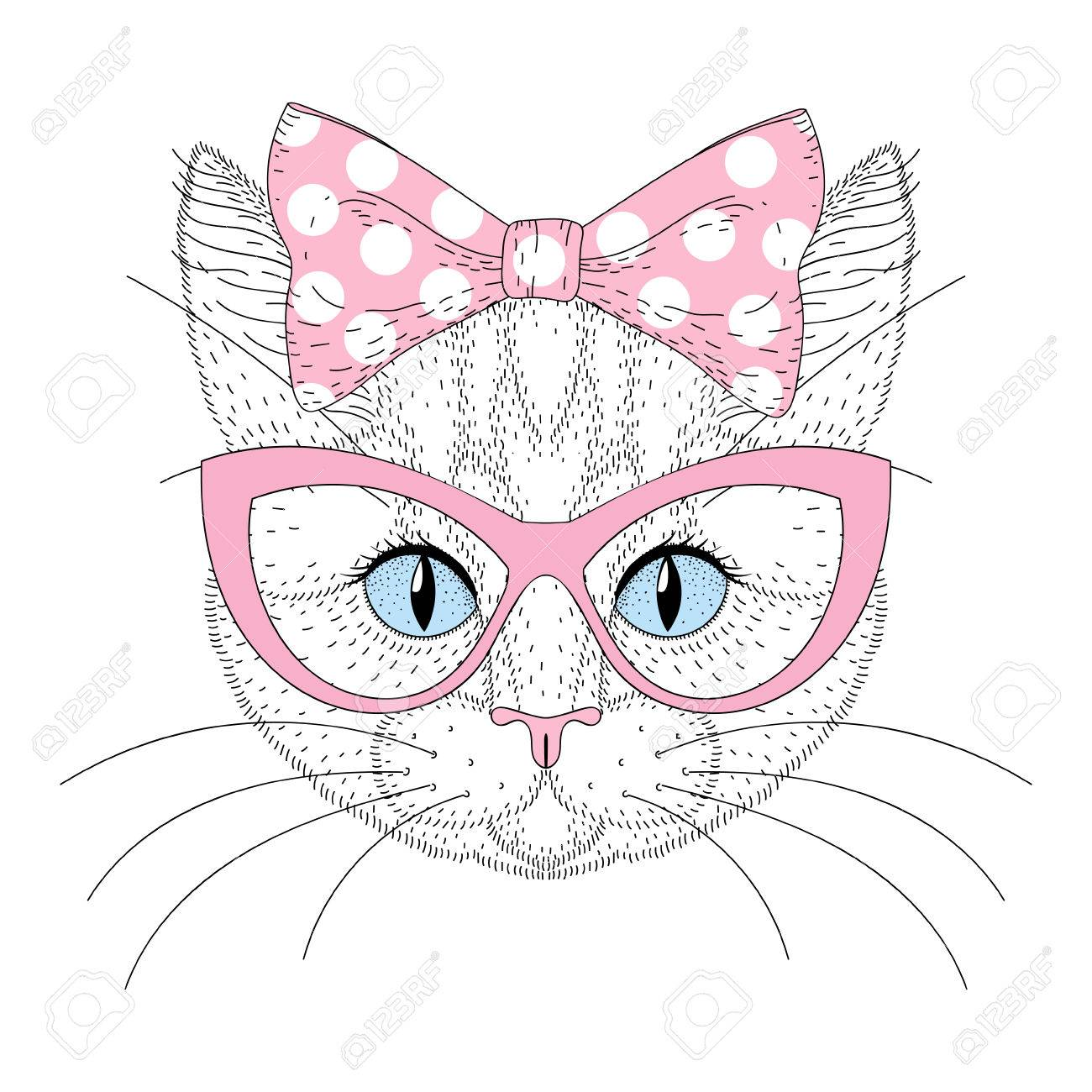 1300x1300 Cute Cat Portrait With Pin Up Bow Tie On Head, Sunglasses. Hand