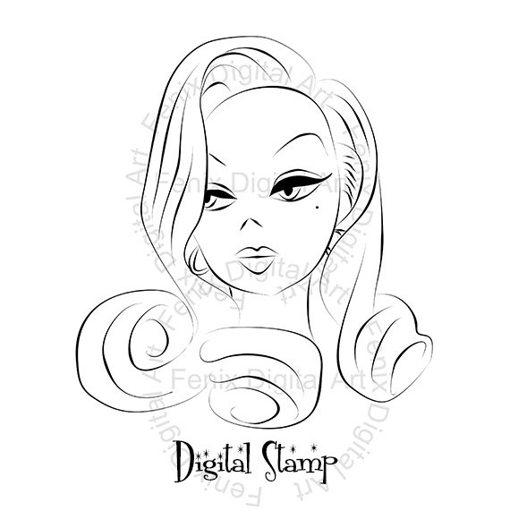 570x571 Digital Stamp,clipart,line Art,pin Up Lady,girl Graphics,girl