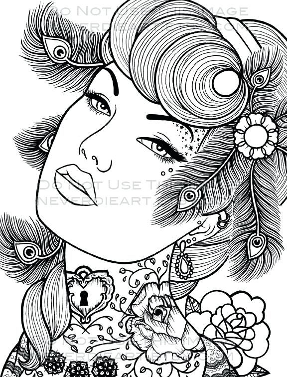 576x756 Pin Up Girl Coloring Book Also Pin Up Girls Coloring Pages 68