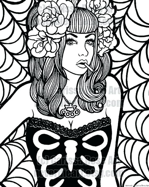 570x713 Pin Up Girl Coloring Book Vector Hand Drawn Girl In Pin Up Style