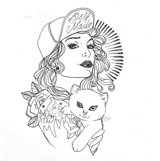 628x632 Pin Up Girl On Beach Tattoo Sketch