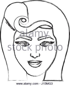 300x368 Silhouette Drawing Of Face Woman With Pin Up Swirl Hairstyle Stock