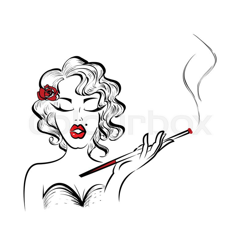 800x800 Beautiful Pin Up Girl Smoking Cigarette. Hand Drawn Vector