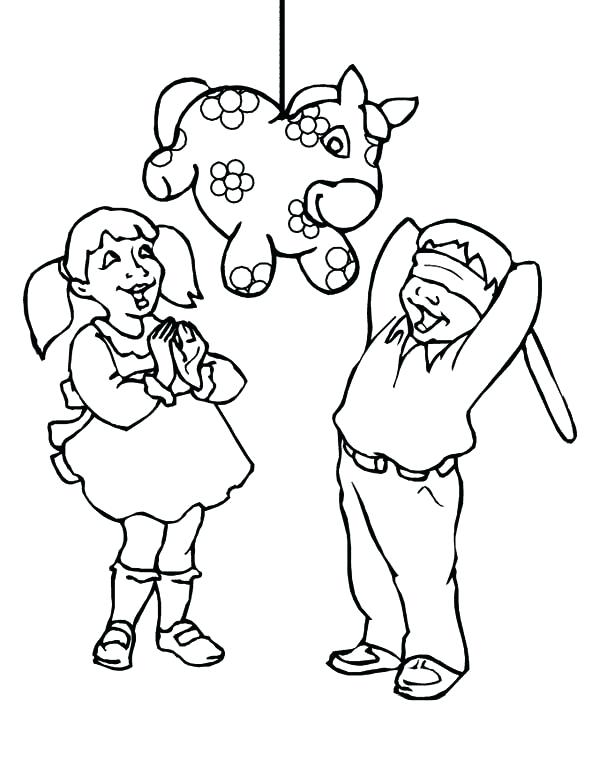 600x776 Mexico Coloring Pages Pinata Coloring Page Christmas Mexico