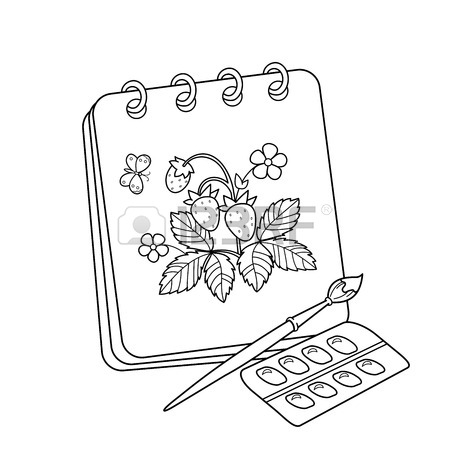 450x450 Coloring Page Outline Of Cartoon Album Or Sketchbook With Brush