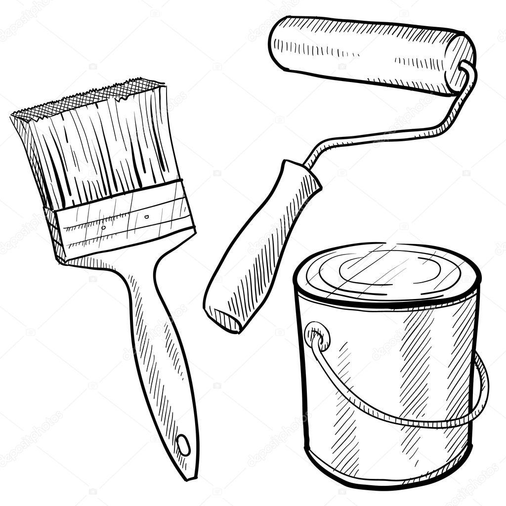 1024x1024 Painter's Equipment Sketch Stock Vector Lhfgraphics