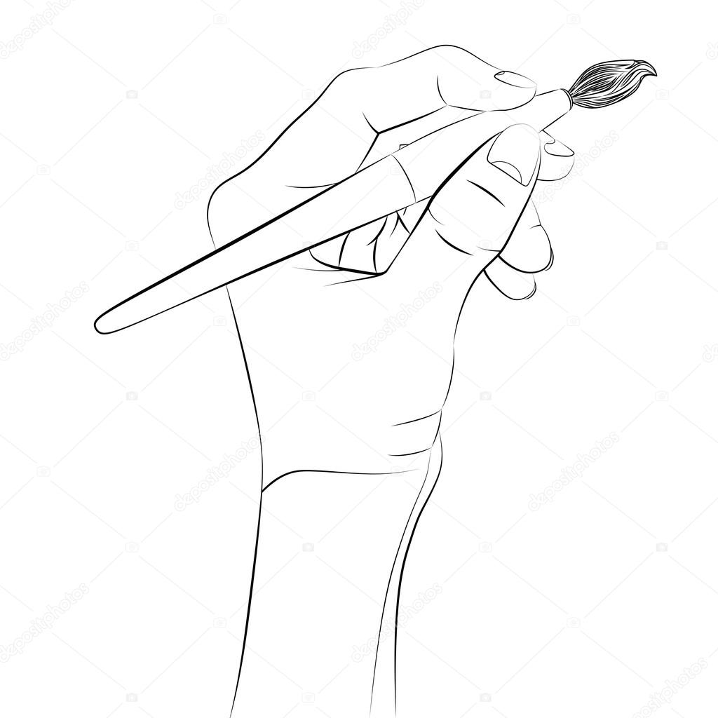 1024x1024 Isolated Human Hand Holding Brush Sketch Vector Stock Vector