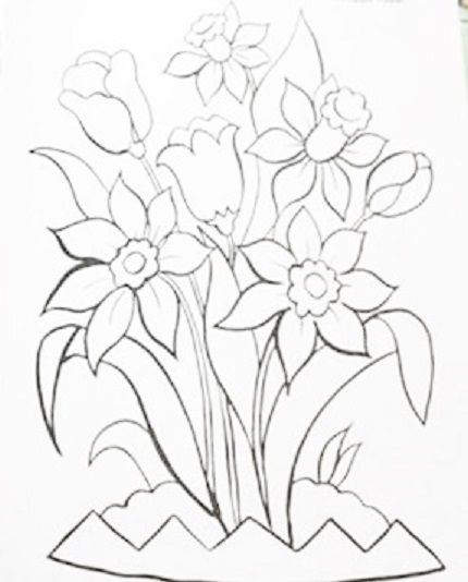 430x534 Pintura Em Tecido Risco Tulipa Pintura,pincel E Tinta Juntas